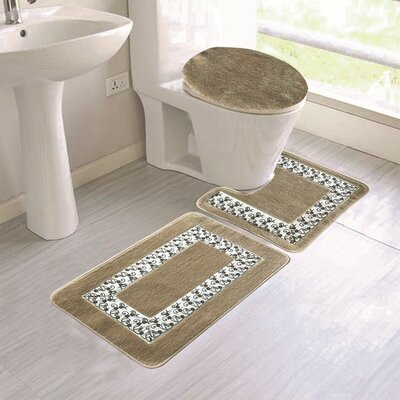 Cleitus Embroidery 3 Piece Bath Rug Set Color: Taupe