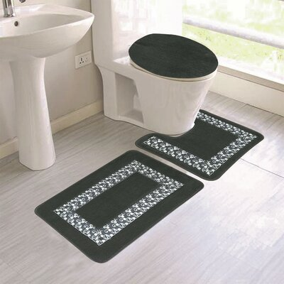 Corson Embroidery 3 Piece Bath Rug Set Color: Black