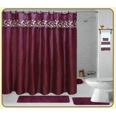 Cortright Embroidery 18 Piece Bath Rug Set Color: Burgundy