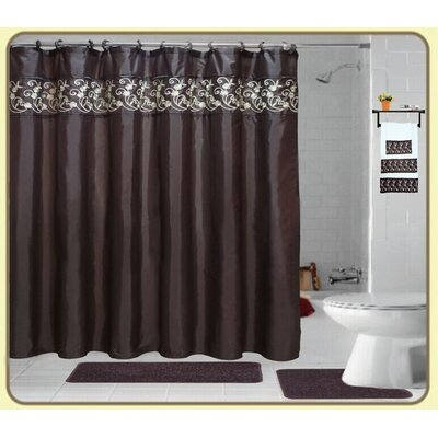 Veatch Embroidery 18 Piece Bath Rug Set Color: Coffee