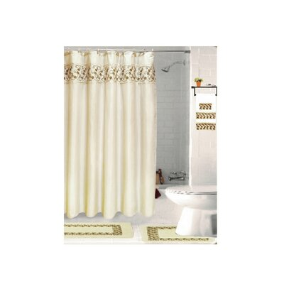 Veatch Embroidery 18 Piece Bath Rug Set Color: Beige