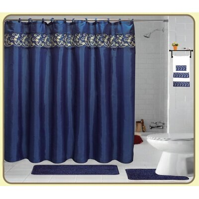 Cortright Embroidery 18 Piece Bath Rug Set Color: Navy