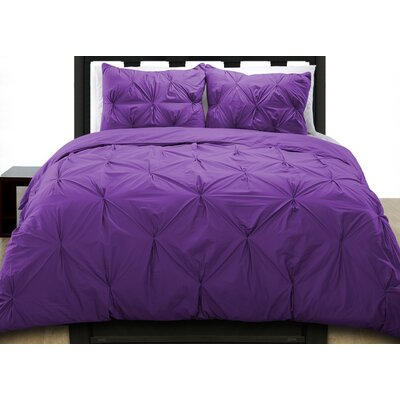 Cottonesque Pintuck Duvet Cover Set Color: Plum, Size: Full/Queen