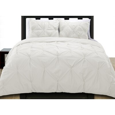 Cottonesque Pintuck Duvet Cover Set Size: Full/Queen, Color: White