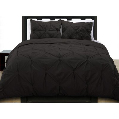 Cottonesque Pintuck Duvet Cover Set Size: King, Color: Black