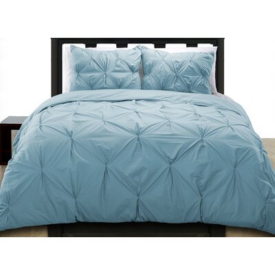 Cottonesque Pintuck Duvet Cover Set Color: Blue, Size: Full/Queen