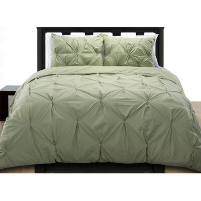 Cottonesque Pintuck Duvet Cover Set Size: Full/Queen, Color: Sage