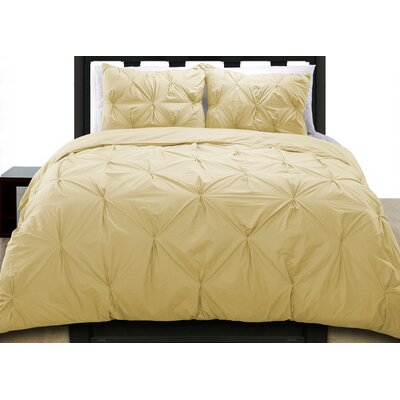 Cottonesque Pintuck Duvet Cover Set Size: Full/Queen, Color: Wheat