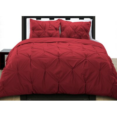 Cottonesque Pintuck Duvet Cover Set Size: Twin, Color: Scarlet