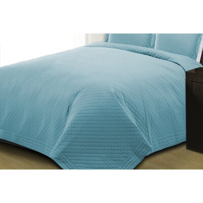 Basics Quilt Size: Twin, Color: Blue