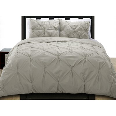 Cottonesque Pintuck Duvet Cover Set Size: Full/Queen, Color: Grey