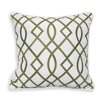 Trellis Embroidery Outdoor Sunbrella Throw Pillow