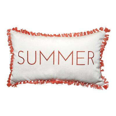 Summer Embroidery Indoor/Outdoor Lumbar Pillow with Fringe