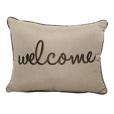 Welcome Embroidery Indoor/Outdoor Lumbar Pillow