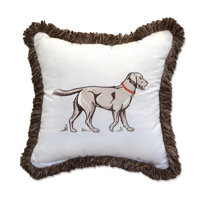 Mans Best Friend Embroidery Indoor/Outdoor Throw Pillow with Fringe