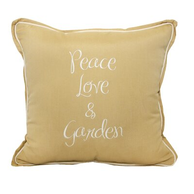 Peace Love Garden Embroidery Indoor/Outdoor Throw Pillow