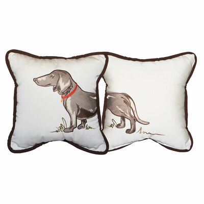 Puppy Embroidery Indoor/Outdoor Throw Pillow