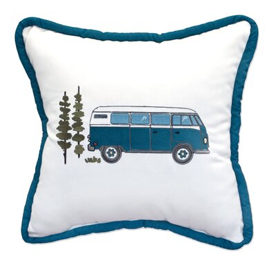 Flower Power Embroidery Indoor/Outdoor Throw Pillow