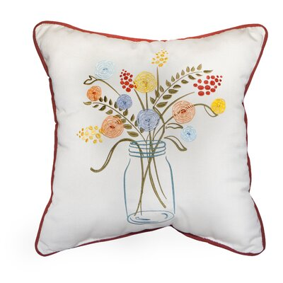 Mason Jar Embroidery  Indoor/Outdoor Throw Pillow