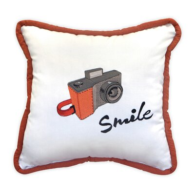 Smile for the Camera Embroidery Indoor/Outdoor Throw Pillow