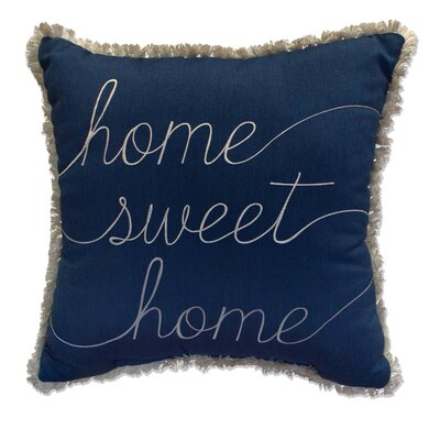 Home Sweet Home Embroidery Indoor/Outdoor Throw Pillow  with Fringe