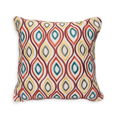Swirl Embroidery Indoor/Outdoor Throw Pillow