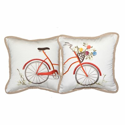 Bicycle Embroidery Indoor/Outdoor Throw Pillow