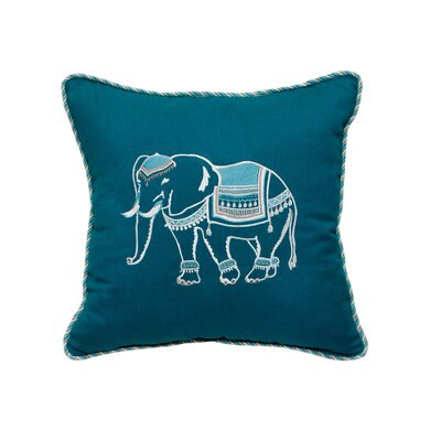 Elephant Embroidery Indoor/Outdoor Throw Pillow