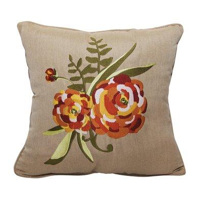 Zinnia Embroidery Indoor/Outdoor Throw Pillow