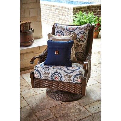 Single Button Throw Pillow Color: Canvas Navy
