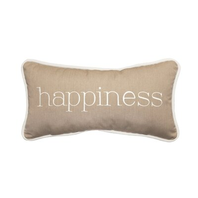 Happiness Embroidery Indoor/Outdoor Lumbar Pillow