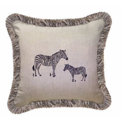Zebra Embroidery Indoor/Outdoor Throw Pillow with Fringe