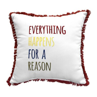 Everything Happens Embroidery Throw Pillow with Fringe