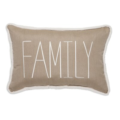 Family Embroidery Lumbar Pillow Color: Heather Beige