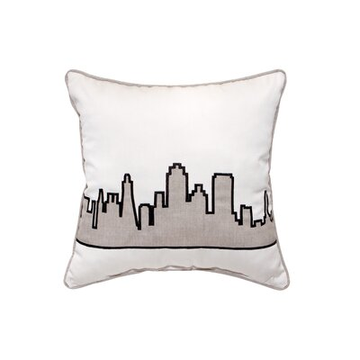 Building Applique Embroidery Indoor/Outdoor Throw Pillow