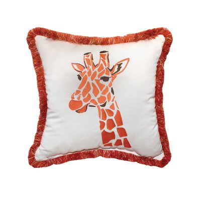 Giraffe Embroidery Indoor/Outdoor Throw Pillow with Fringe