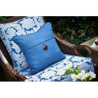 Single Button Throw Pillow Color: Sapphire