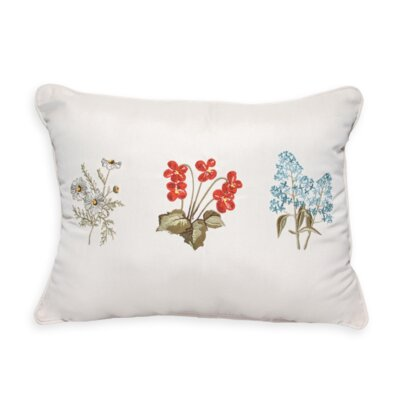 3 Flower Embroidery Indoor/Outdoor Lumbar Pillow