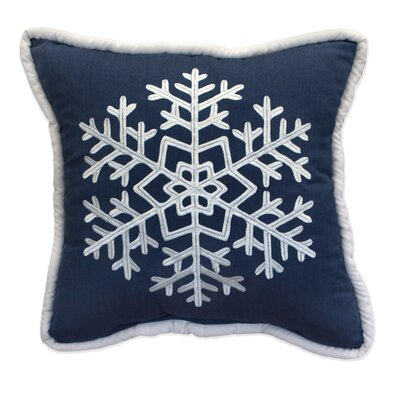 Snowflake Embroidery Indoor/Outdoor Throw Pillow