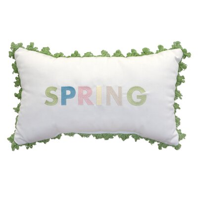 Spring Embroidery Indoor/Outdoor Lumbar Pillow with Fringe