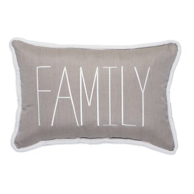 Family Embroidery Lumbar Pillow Color: Cast Ash