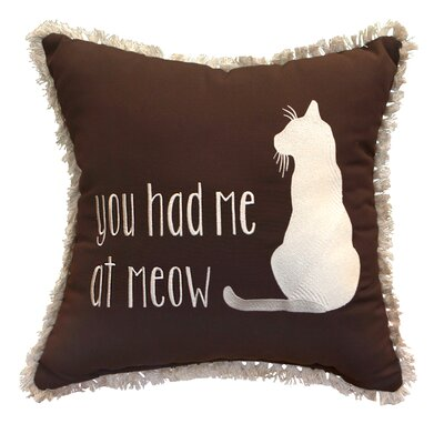 You Had Me at Meow Embroidery Accent Indoor/Outdoor Throw Pillow with Fringe