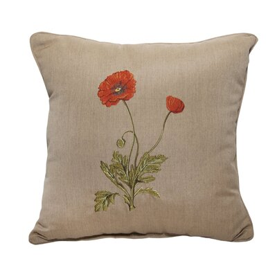 Poppy Embroidery Indoor/Outdoor Throw Pillow