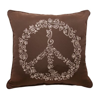 Peace Embroidery Indoor/Outdoor Throw Pillow