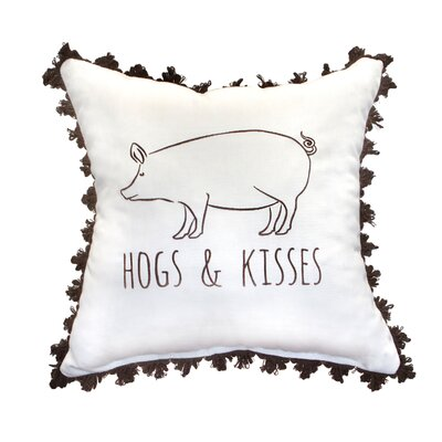 Hogs and Kisses Embroidery Throw Pillow with Fringe