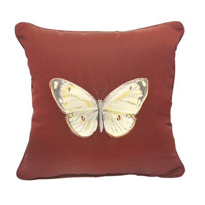 Butterfly Embroidery Indoor/Outdoor Throw Pillow