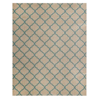 Hastings Beige/Turquoise Indoor/Outdoor Area Rug Rug Size: Rectangle 53 x 75
