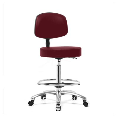 Where To Buy Height Adjustable Exam Stool With Basic Backrest And Foot Ring Color Burgundy