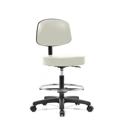 Height Adjustable Exam Stool With Basic Backrest And Foot Ring Color Adobe White