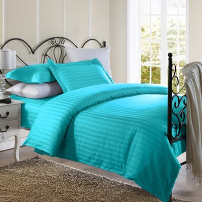 Cotton Duvet Set Color: Aqua Blue, Size: Twin